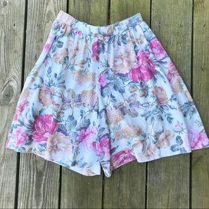 Vintage Floral Highwaisted Flowy Shorts
